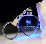 Promation Laser Engraved Heart Shaped Crystal LED Keychain Glass Gifts