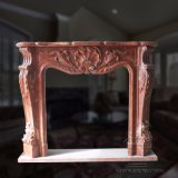 Simple Yet Elegant Red Marble Fireplace Mantel