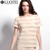 Women Designer Mesh Organza Short Sleeve Bandage Stripe Top