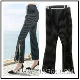 Office Ladies Striped Long Flared Pants