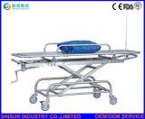 China Hospital Manual Lifting Adjustable Trolley Transport Flat Stretcher Price