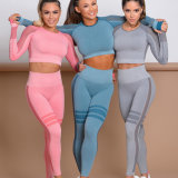 2020 Fashion Wholesale Ladies Gym Sports Set Girls Athletic Workout Suit OEM Custom Women Fitness Seamless Leggings Sports Wear