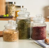 High Quantity Clear Ribbed Glass Storage Jar for Food