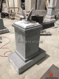 Grey Granite Butterfly Carved Pedestal Small Monument Cremation Headstone