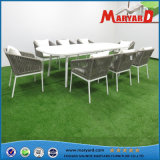 Outdoor Dining Furniture Rope Chair and Teak Wood/Aluminum Table Set