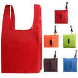 Custom Logo Polyester Colorful Foldable Shopping Bag Grocery Bags with Hook