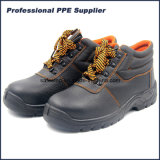 High Cut Black Cheap Genuine Leather Steel Toe Work Men's Safety Shoes