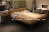 2015 Italian Modern Leather Wooden Bedroom Queen Bed