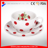 Wholesale 240ml Ceramic Tea Cup and Saucer with Flower Decal