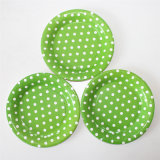 "7"" Party Paper Plate, Round Polka Green DOT Paper Plates"