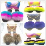 Summer Custom Logo Shoes Wholesale Women Soft Fox Fur Slides Sandals Slippers with Bag Set