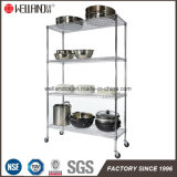 Wholesale Wire Shelf Restaurant Kitchen 4 Tiers Chrome Metal Wire Shelving with Wheels
