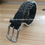 Tanned Leather Straps Braided Belt with Alloy Buckle