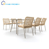 Vangarden Rope Aluminum Patio Garden Furniture Dining Table and Chair Set