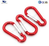 Red Colored Aluminum Carabiner Snap Hook for Camp or Climbing