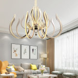 15 Lights 300W Fancy Lighting Stainless Steel K9 Crystal Acrylic Morden Hotel Chandelier for Living Room