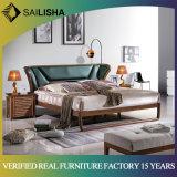 Online Wholesale Modern Bedroom Furniture Set King Size Solid Wood Genuine Leather Headback Bed