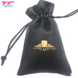 Luxury Stamped Gold Logo PU Leather Pouch, Custom Mini Makeup Gift Organizer Faux Leather Drawstring Bags