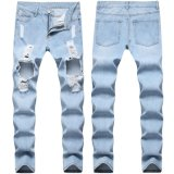 Wholesale China Damaged Track Skinny Denim Men′s Pants Ripped Jeans