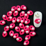 Red Pink Rose Nail Art Jewelry Decoration with Sexy Mouth Design