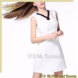 White Seductive Top Sleeveless Office Dress for Women