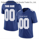 Full Embroidered Stitches Mesh Polyester Cheap Discount Blue Football Jerseys