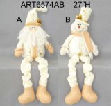 Spring Legged Santa Snowman Holiday Decoration with Hand Embroidery-2asst.