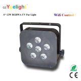 Party Disco Phone WiFi 6X12W RGBWA UV Battery Power Flat LED PAR Light