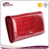 2017 Casual Best Price Leather Wallets Women, Red Long Genuine Leather Wallets