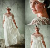 Short Sleeves Evening Dresses White Chiffon Lace Prom Dresses T21478