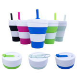 Cheap Travel Camp Foldable Silicone Water Coffee Cup with Straw