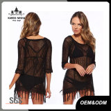 Sexy Girl Beach Wear with Lace Cuffs and Fringe Hem