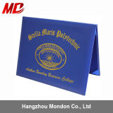 Royal Blue Leatherette Certificate Folders Four Satin Corners -Tent Style