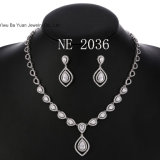 Jewelry Silver Plated Women Necklace Heart and Teardrop Cubic Ziconia