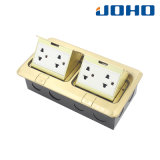 DCT-638/GB Double Pop up Type Copper Alloy Floor Box Receptacle