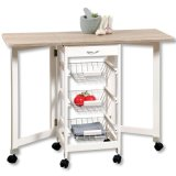 Kitchen Island Storage Trolley Cart with Drop Leaf Tops for Living Room, Folded Top, Extend Ceramic Top, 3 Metal Baskets