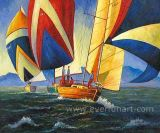 Canvas Oil Painting Abstract Boat Painting (EWL-050)