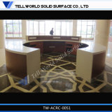 New Design High Gloss Artificial Stone Round Reception Desk