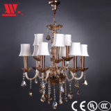 Crystal Chandelier with Glass Decoration and Fabric Lampshades