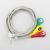 Medical Cable 3.5 mm Right Angle Audio Plug to 3 Snap Electrode Lead Wire for ECG Machine, ECG Conductive Electrode Cable