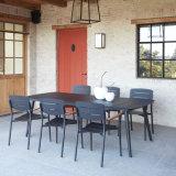 Outdoor Modern Restaurant Arm Chairs Aluminum Rectangular Dining Table Set