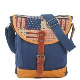 Special Embroidery Design Blue Canvas Lady Crossbody America Flag Bags (RS6002)