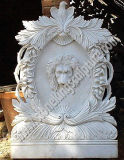Natural White Marble Wall Fountain with Lion