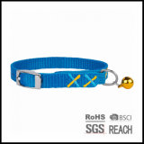 Personalised Cheap Christmas Blue Nylon Quick Release Cat Kitten Collar