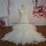 Mermaid Ruffle Sleeveless Strap Lace Wdding Gown