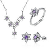 Trendy Cubic Zirconia Purple Flowers 925 Sterling Silver Jewelry Set Necklace Earrings Ring S925 Set