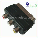 Mini Nickel-Plated Connector Scart Plug to 3RCA Jack Scart Adapter