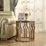 Popular Crystal Marble Top Round Side Table for Living Room