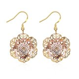 18k Gold Women Earrings Flower Hollow Women Eardrop Gold Color Jewelry