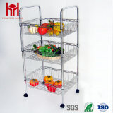 Multi-Functional Chrome Plated 3 Tiers Basket Kitchen Trolley